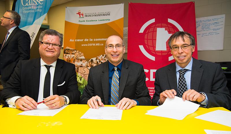 Stéphane Dorge, vice-président du Conseil d'administration de Caisse Groupe Financier, Alain Laberge, directeur général de la DSFM et Louis Allain, directeur général du CDEM.