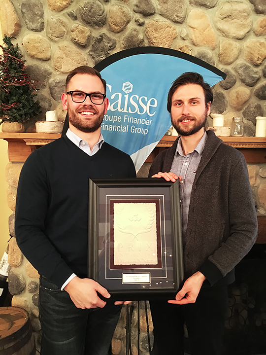 Miguel Gauthier and Mario Savard from Visual Lab, recipient of Young Entrepreneurs Award - Innovation category